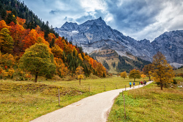 Path through autumn mountain landscape in the Alps, Engalm, Austria, Tirol.