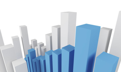 White and blue bar chart
