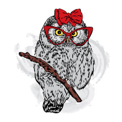 Cute owl with glasses and a bow. Vector illustration for greeting card, poster, or print on clothes. Fashion & Style. Hipster.