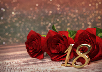 birthday concept with red roses on wooden desk. eighteenth. 18th. 3D render
