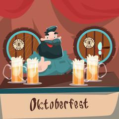Cartoon Man At Bar Beer Glass Mug Barrel Oktoberfest Festival Banner