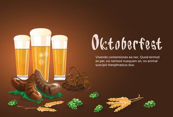 Beer Glass Mug With Sausage Pretzel Oktoberfest Festival Banner