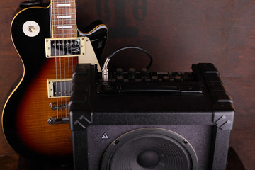 Electric Guitar and Amplifier Vintage Close Up. All for Rock.