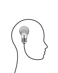 Idea concept with human head shape on white background.
