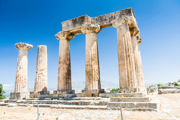 Ruins of ancient temple in Corinth, Greece - archaeological site