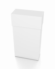 White thin vertical rectangle blank box with cover from top front side angle.