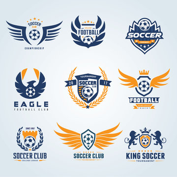 Set of Football and soccer college vector logo template