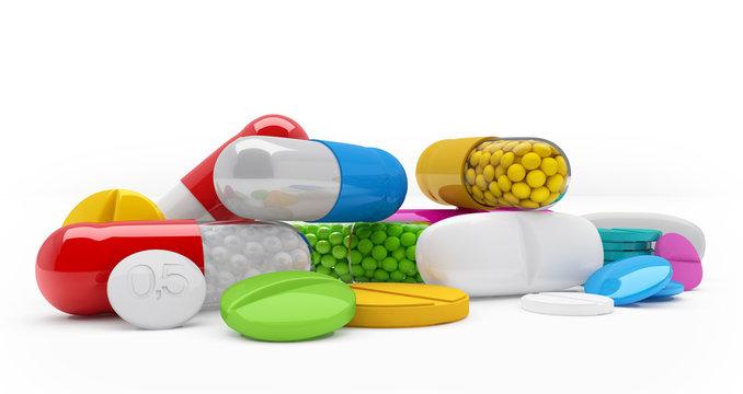 Bunte, farbenfrohe Medikamente - Tabletten, Pillen, Kapseln - Textfreiraum - happy pills
