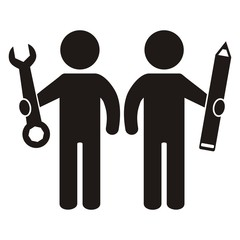 figure and tool, black vector icon