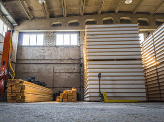 Inside the large warehouse.