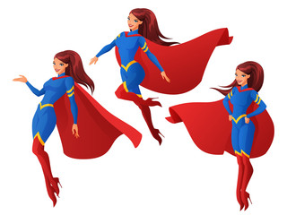 Vector set of women in blue and red superhero outfit in three different poses.