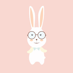 Cute rabbit wear glasses.