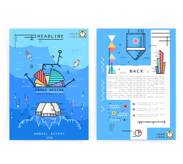 Cover design annual business report. Creative presentation templates. Vector design for brochures, flyers, cards. Modern flat line style, layout in A4 size