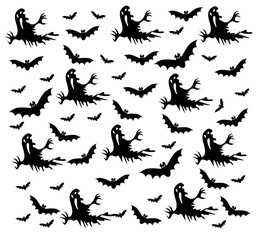 Happy Halloween with Halloween icons, pattern and background