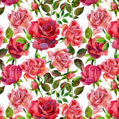Red roses seamless pattern.
