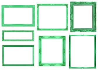 collection green frame isolated on white background, clipping pa