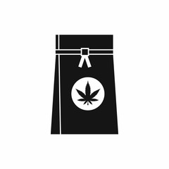 Bag with cannabis icon in simple style isolated on white background. Drugs symbol