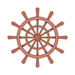 Wooden ship wheel icon in cartoon style on a white background