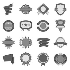 Award icons set in black monochrome style. Labels and ribbons set collection vector illustration