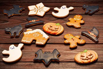 Halloween and christmas homemade gingerbread cookies