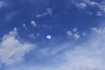 Beautiful blue sky with cloud and The moon