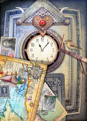 Foto op Aluminium Imagination Orologio steampunk con cuore-l'immaginazione e il ricordo.