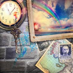 Acrylic Prints Imagination Finestra fantastica,sul mare con orologio,chiave arcobaleno-l'immaginazione e il ricordo.