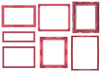 collection red frame isolated on white background, clipping path
