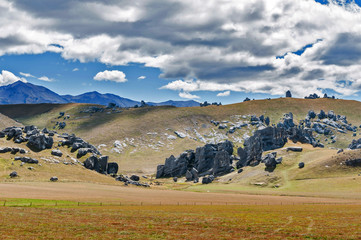 Weird landscape of Castle Hill in Southern Alps, Arthur's Pass, South Island of New Zealand