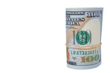 Rolled $100 dollar bills and isolated on white background and have clipping path.
