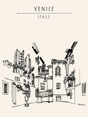 Venice, Italy, Europe. Travel sketch.  Artistic vintage hand drawn postcard or poster. Book illustration
