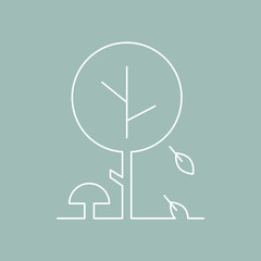 Vector flat illustration icon design autumn in thin line style. Autumn tree with leaves concept