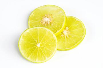 slice of lemon lime on white background.