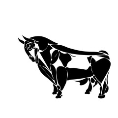 Stylized black bull contour consisting of fragments isolated on a white background, tattoo, illustration