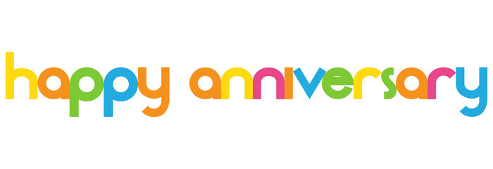 happy anniversary colorful vector letters banner stock image and