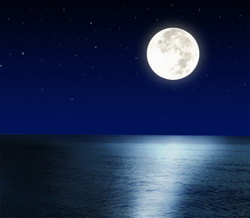 Full moon over the sea.