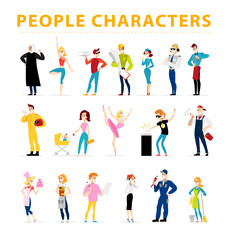 Vector flat people characters portraits isolated on white background set