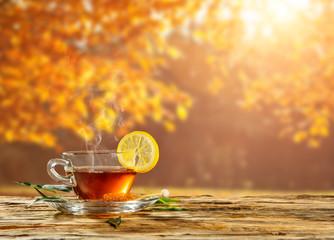 Autumn still life with tea cup on wooden planks