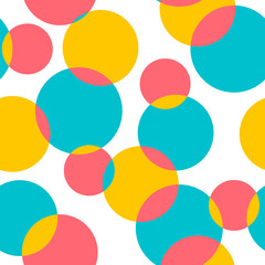 Seamless pattern with colorful circles on a white background