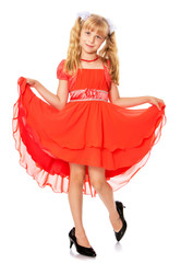 Little girl in orange dress