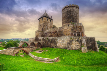 Medieval castle in Bedzin at sunset, Poland