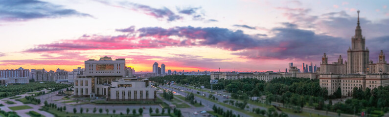 Soften edge view of sunset panorama of Moscow university campus
