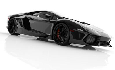 Black fast sports car on white background studio. Shiny, new, lu