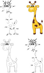 Cartoon giraffe. Coloring book and dot to dot game for kids
