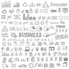 Big set of business, social, technology doodle, hand drawn elements