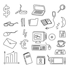 Set of business, social, technology doodle, hand drawn elements
