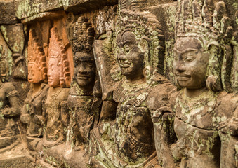 Angkor Wat temple, wall ornaments, stone carvings