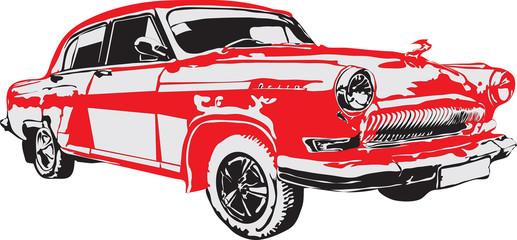 Russian retro car in red color
