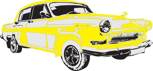 Russian retro car in yellow color