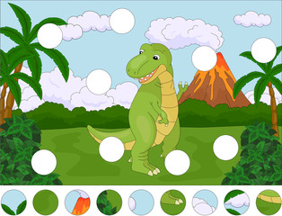 Funny cute tyrannosaurus on the background of a prehistoric natu